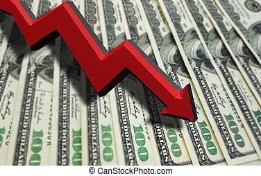 Dollar recession arrow