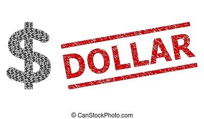 Dollar Recursion Mosaic of Dollar Items and Grunge Dollar Seal Stamp