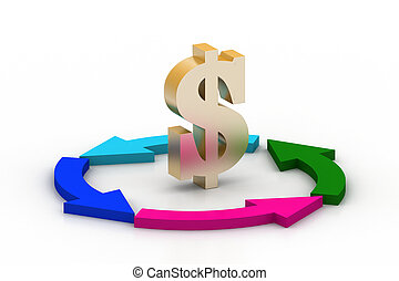 dollar, recyclage, flèches, signe