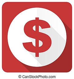 dollar red flat icon us dollar sign