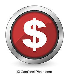 dollar red icon us dollar sign