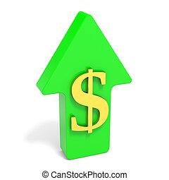 Dollar rising arrow. 3D illustration.