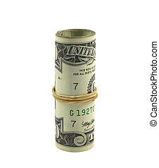 Dollar roll isolated in white