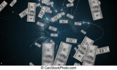 dollar, rotation, animation, flotter, sur, globe