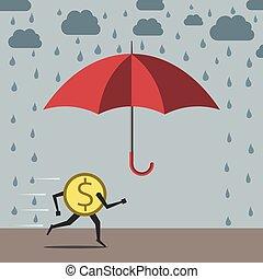 Dollar running to umbrella