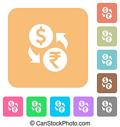 Dollar Rupee rounded square flat icons