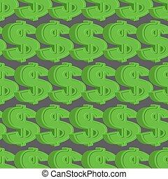 Dollar seamless pattern. Green Dollar vector background.