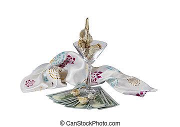dollar seashells glass