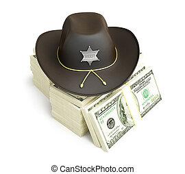 dollar, shérif, chapeau, sur, a, fond blanc