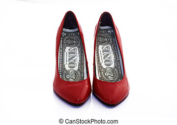dollar shoes - two shoes with dollars as the souls to the...