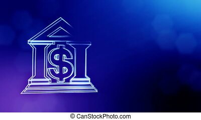 dollar sign and emblem of a bank. Finance background of luminous particles. 3D loop animation with depth of field, bokeh and copy space for your text. Blue v3