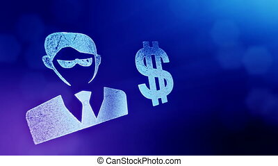 dollar sign and emblem of a businessman. Finance background of luminous particles. 3D loop animation with depth of field, bokeh and copy space for your text. Blue v3