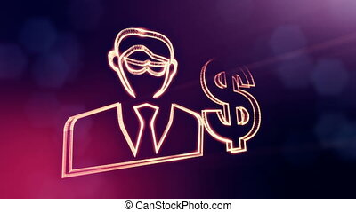 dollar sign and emblem of businessman. Finance background of...
