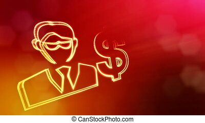 dollar sign and emblem of businessman. Finance background of...