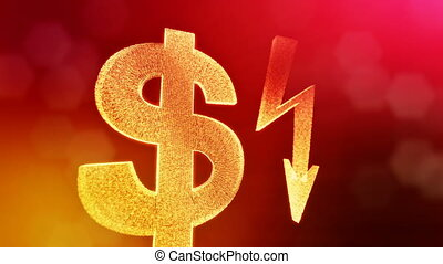 dollar sign and emblem of lighting bolt. Finance background...
