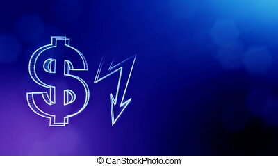 dollar sign and emblem of lighting bolt. Finance background of luminous particles. 3D loop animation with depth of field, bokeh and copy space for your text. Blue v3