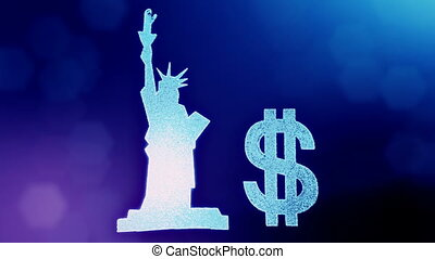dollar sign and emblem of The Statue of Liberty. Finance background of luminous particles. 3D loop animation with depth of field, bokeh and copy space for your text.. Blue v4