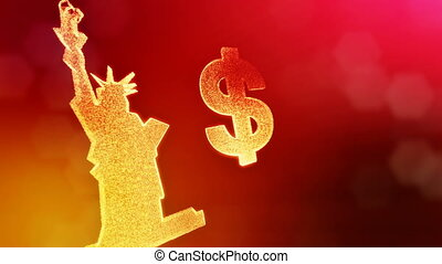 dollar sign and emblem of The Statue of Liberty. Finance...