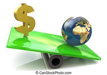 Dollar sign and globe on a scales