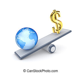 Dollar sign and globe on a scales.