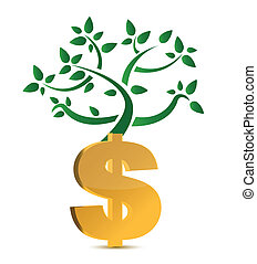 dollar sign and green plant