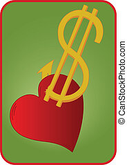 Dollar sign and heart