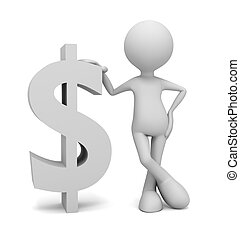 dollar sign and man concept  3d illustration