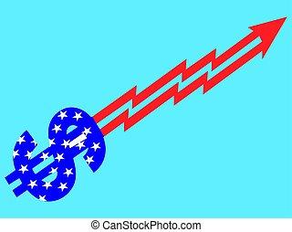 Dollar sign arrow with American Flag vector