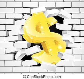 Dollar Sign Breaking Through White Brick Wall - A gold...