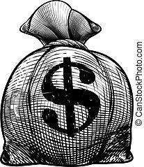 Dollar Sign Burlap Sack or Money Bag