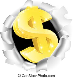 Dollar Sign Bursting Background