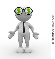 Dollar sign - 3d people - man, person with an eyeglasses and...