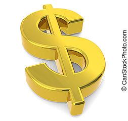 Dollar sign - A 3D golden dollar sign
