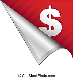 Dollar sign corner tab - Dollar sign icon on vector peeled...