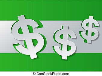 Dollar Sign Cut from White Paper on Green Background