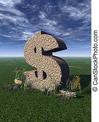 dollar sign - dollar rock on a green field - 3d illustration