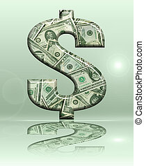 Dollar Sign - Dimensional Reflective Money Dollar Sign on...