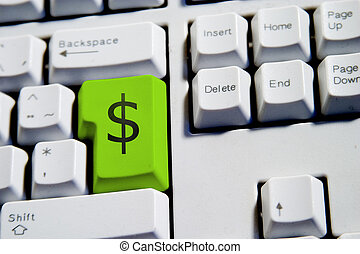 Dollar Sign Enter - Computer Keyboard from a desktop...