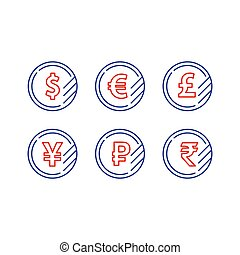 Dollar sign, euro symbol, pound icon, ruble coin, financial currency exchange