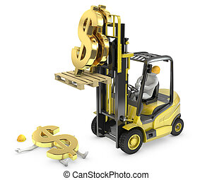 Dollar sign fell from fork lift truck and hit worker