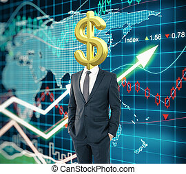 Dollar sign head forex background