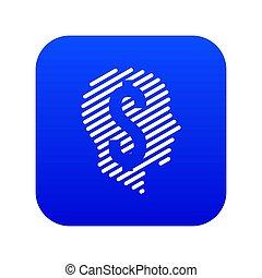 Dollar sign icon blue