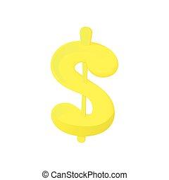 Dollar sign icon, cartoon style