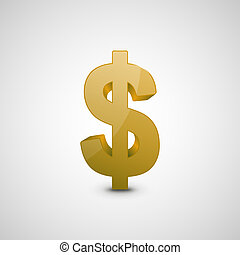 Dollar Sign Illustration, Graphic Concept For Your Design.