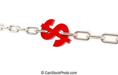 dollar sign imprisoned in chains on a white background