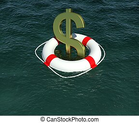 Dollar sign in a lifebuoy in the water. 3d rendering