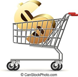 Dollar sign in a shopping cart, isolated on white background.