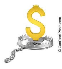 Dollar sign in bear trap