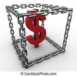 Dollar sign in chain box - 3d rendering of dollar sign in ...