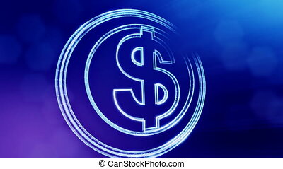 dollar sign in circles. Finance background of luminous particles. 3D loop animation with depth of field, bokeh and copy space for your text. Blue v3